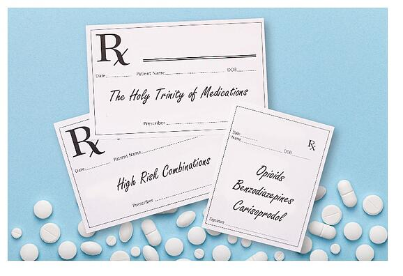 The Holy Trinity of medications, high risk combinations, opiods, benzodiazepines, carisoprodol, pain management