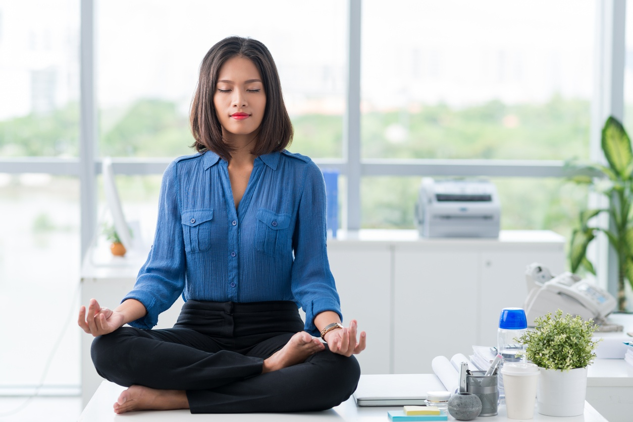 Office Yoga Poses Practicing At Your Desk